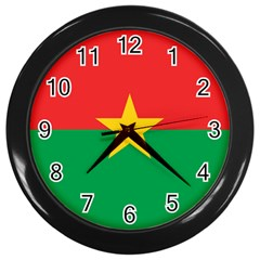 Flag Of Burkina Faso Wall Clocks (black)