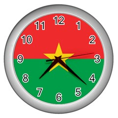 Flag Of Burkina Faso Wall Clocks (silver)