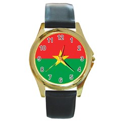 Flag Of Burkina Faso Round Gold Metal Watch