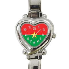 Flag Of Burkina Faso Heart Italian Charm Watch