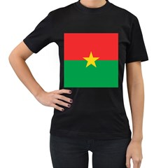 Flag Of Burkina Faso Women s T Shirt (black) (two Sided)