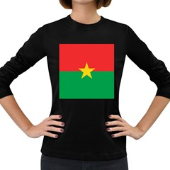 Flag Of Burkina Faso Women s Long Sleeve Dark T Shirts