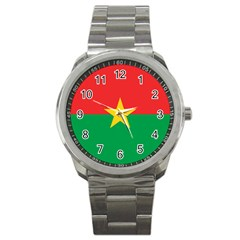Flag Of Burkina Faso Sport Metal Watch