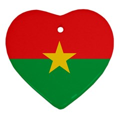 Flag Of Burkina Faso Heart Ornament (two Sides)