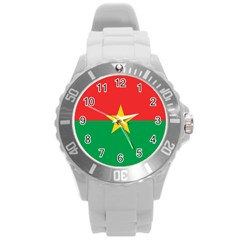 Flag Of Burkina Faso Round Plastic Sport Watch (l)