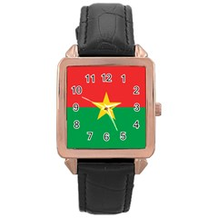 Flag Of Burkina Faso Rose Gold Leather Watch