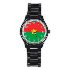 Flag Of Burkina Faso Stainless Steel Round Watch