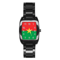 Flag Of Burkina Faso Stainless Steel Barrel Watch