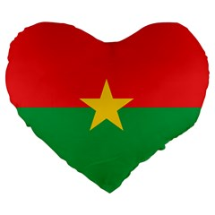 Flag Of Burkina Faso Large 19  Premium Flano Heart Shape Cushions