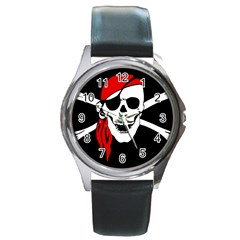 Pirate Skull Round Metal Watch