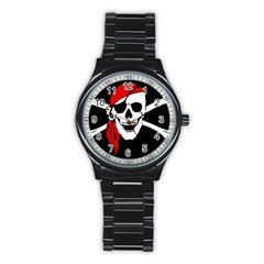 Pirate Skull Stainless Steel Round Watch