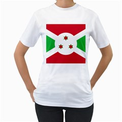Flag Of Burundi Women s T Shirt (white) (two Sided)
