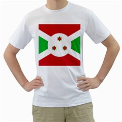 Flag Of Burundi Men s T Shirt (white) (two Sided)