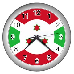 Flag Of Burundi Wall Clocks (silver)