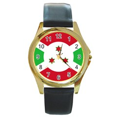 Flag Of Burundi Round Gold Metal Watch