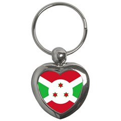 Flag Of Burundi Key Chains (heart)