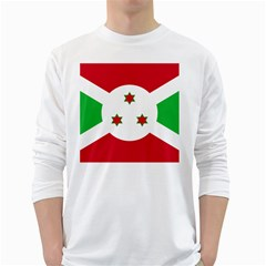 Flag Of Burundi White Long Sleeve T Shirts