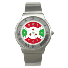 Flag Of Burundi Stainless Steel Watch