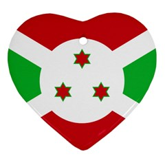 Flag Of Burundi Heart Ornament (two Sides)