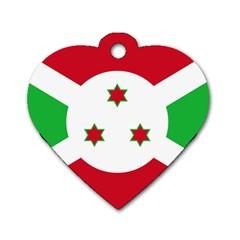 Flag Of Burundi Dog Tag Heart (one Side)