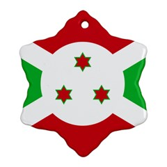 Flag Of Burundi Snowflake Ornament (two Sides)