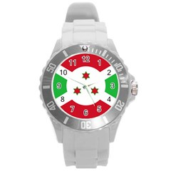 Flag Of Burundi Round Plastic Sport Watch (l)