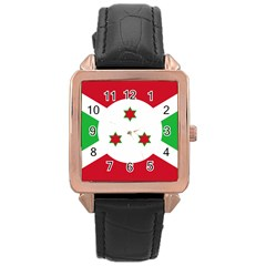 Flag Of Burundi Rose Gold Leather Watch