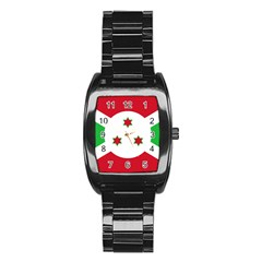 Flag Of Burundi Stainless Steel Barrel Watch