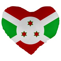 Flag Of Burundi Large 19  Premium Flano Heart Shape Cushions