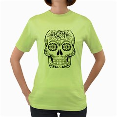 Sugar Skull Women s Green T Shirt