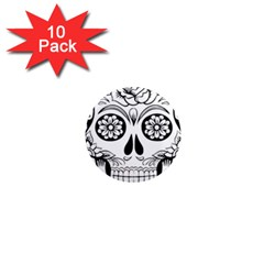 Sugar Skull 1  Mini Magnet (10 Pack)