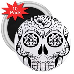 Sugar Skull 3  Magnets (10 Pack)  by sherylchapmanphotography
