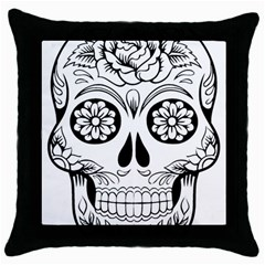 Sugar Skull Throw Pillow Case (black)