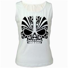 Tribal Sugar Skull Women s White Tank Top