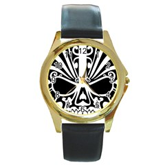 Tribal Sugar Skull Round Gold Metal Watch