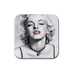 Blonde Bombshell Rubber Coaster (square)