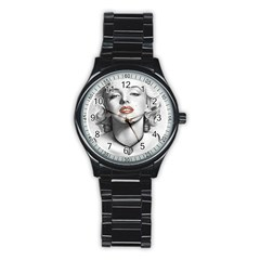 Blonde Bombshell Stainless Steel Round Watch