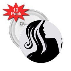Long Haired Sexy Woman  2 25  Buttons (10 Pack)