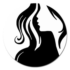 Long Haired Sexy Woman  Magnet 5  (round)