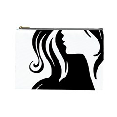 Long Haired Sexy Woman  Cosmetic Bag (large)