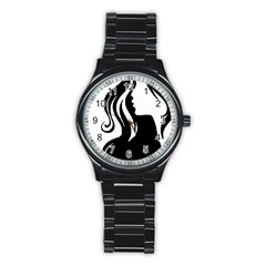 Long Haired Sexy Woman  Stainless Steel Round Watch