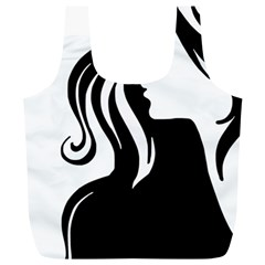 Long Haired Sexy Woman  Full Print Recycle Bags (l)