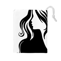 Long Haired Sexy Woman  Drawstring Pouches (large)