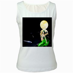 Sexy Mermaid In The Moonlight Women s White Tank Top
