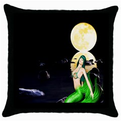 Sexy Mermaid In The Moonlight Throw Pillow Case (black)