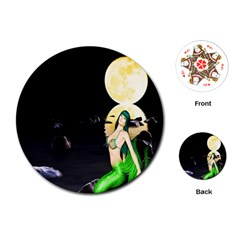 Sexy Mermaid In The Moonlight Playing Cards (round)