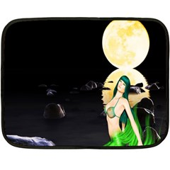 Sexy Mermaid In The Moonlight Double Sided Fleece Blanket (mini)