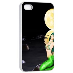 Sexy Mermaid In The Moonlight Apple Iphone 4/4s Seamless Case (white)