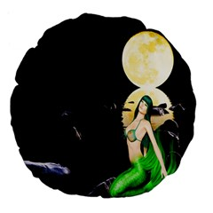 Sexy Mermaid In The Moonlight Large 18  Premium Flano Round Cushions