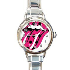 Pink Tongue Round Italian Charm Watch